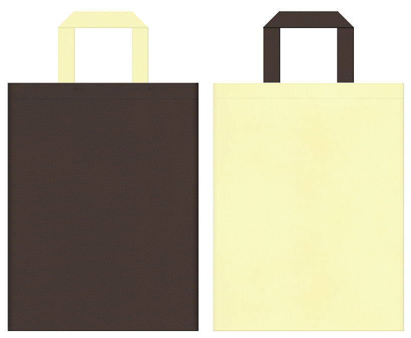 不織布バッグの印刷ロゴ背景レイヤー用デザイン:こげ茶色と薄黄色のコーディネート