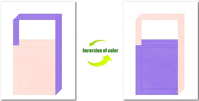 桜色と薄紫色の不織布ショルダーバッグのデザイン