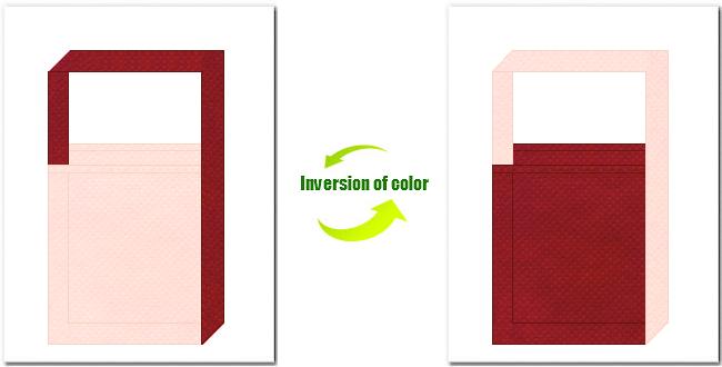 桜色とエンジ色の不織布ショルダーバッグのデザイン