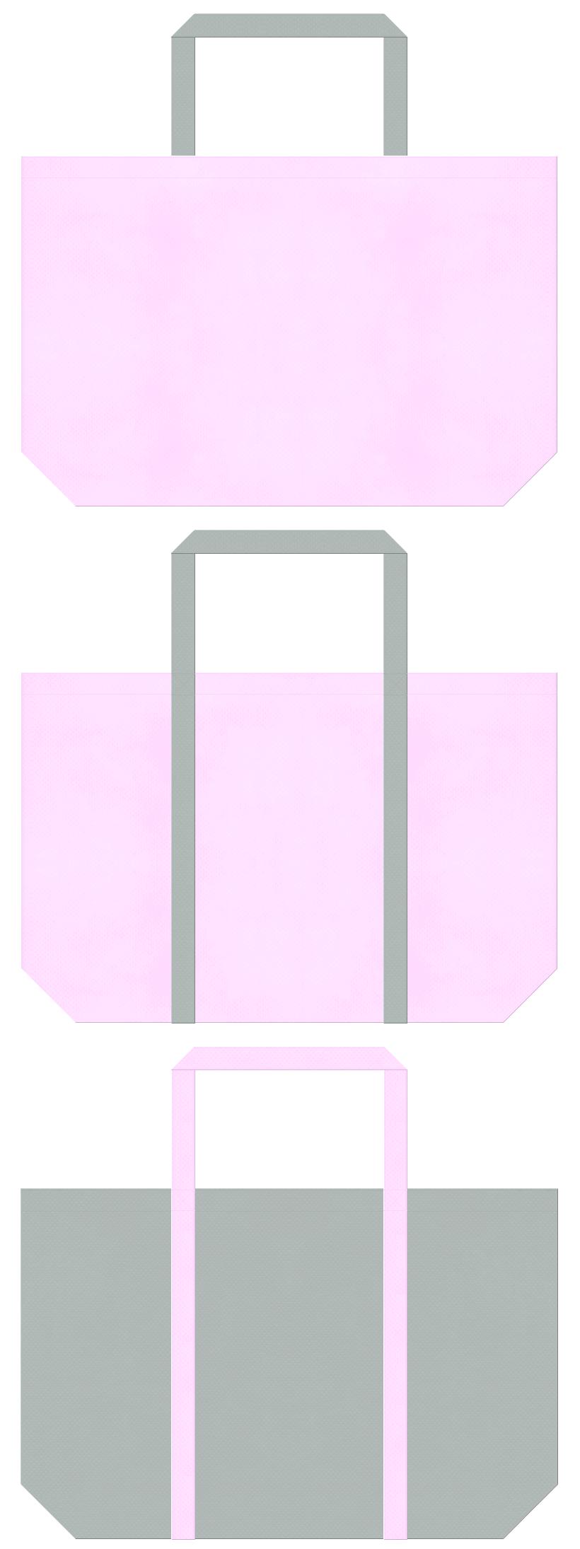 事務服・制服・ワーキングユニフォームのショッピングバッグにお奨めの不織布バッグデザイン:パステルピンク色とグレー色のコーデ