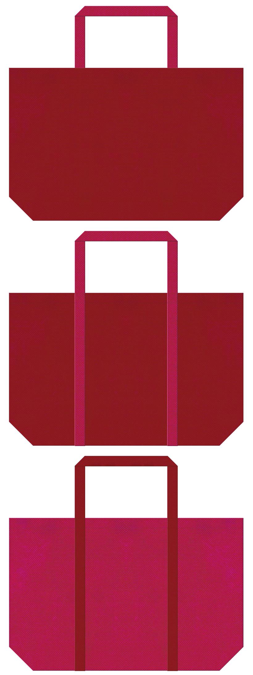 エンジ色と濃いピンク色の不織布ショッピングバッグのデザイン。和雑貨のショッピングバッグ・福袋にお奨めです。