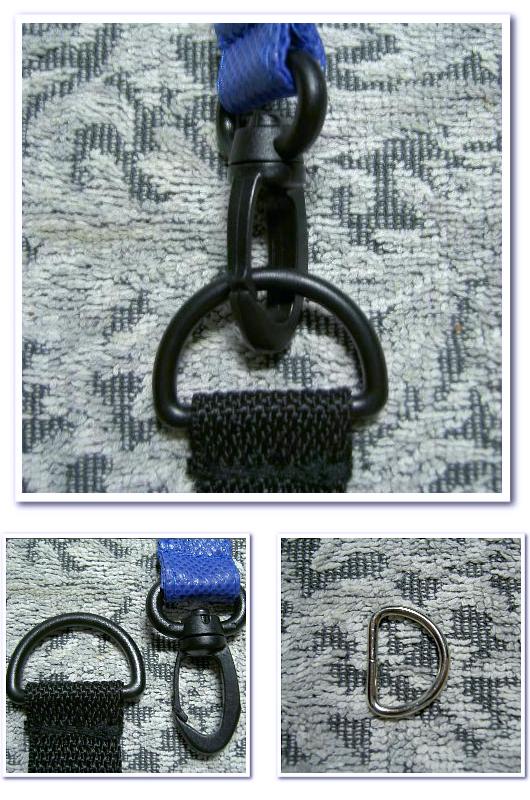 不織布バッグオリジナル制作用の付嘱パーツ:左 樹脂製のDカンとナスカンの写真 右 金属製のDカン
