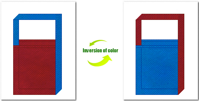 エンジ色と青色の不織布ショルダーバッグ