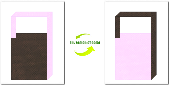 こげ茶色と明ピンク色の不織布ショルダーバッグのデザイン:桜の木のイメージにお奨めの配色です。