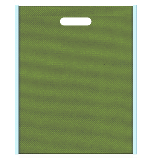 水草風の不織布バッグ小判抜き配色デザイン:メインカラー草色とサブカラー水色