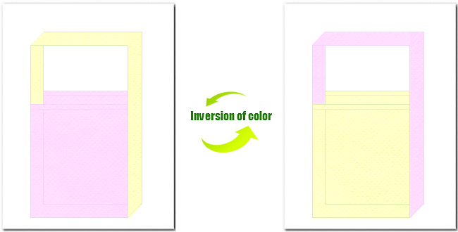 明ピンク色と薄黄色の不織布ショルダーバッグのデザイン