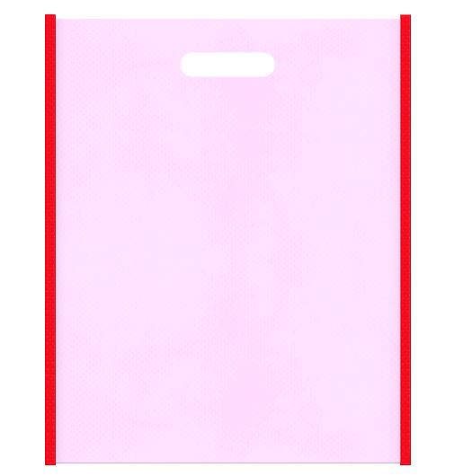 母の日ギフトにお奨めの不織布小判抜き袋のデザイン。メインカラー明るめのピンク色とサブカラー赤色
