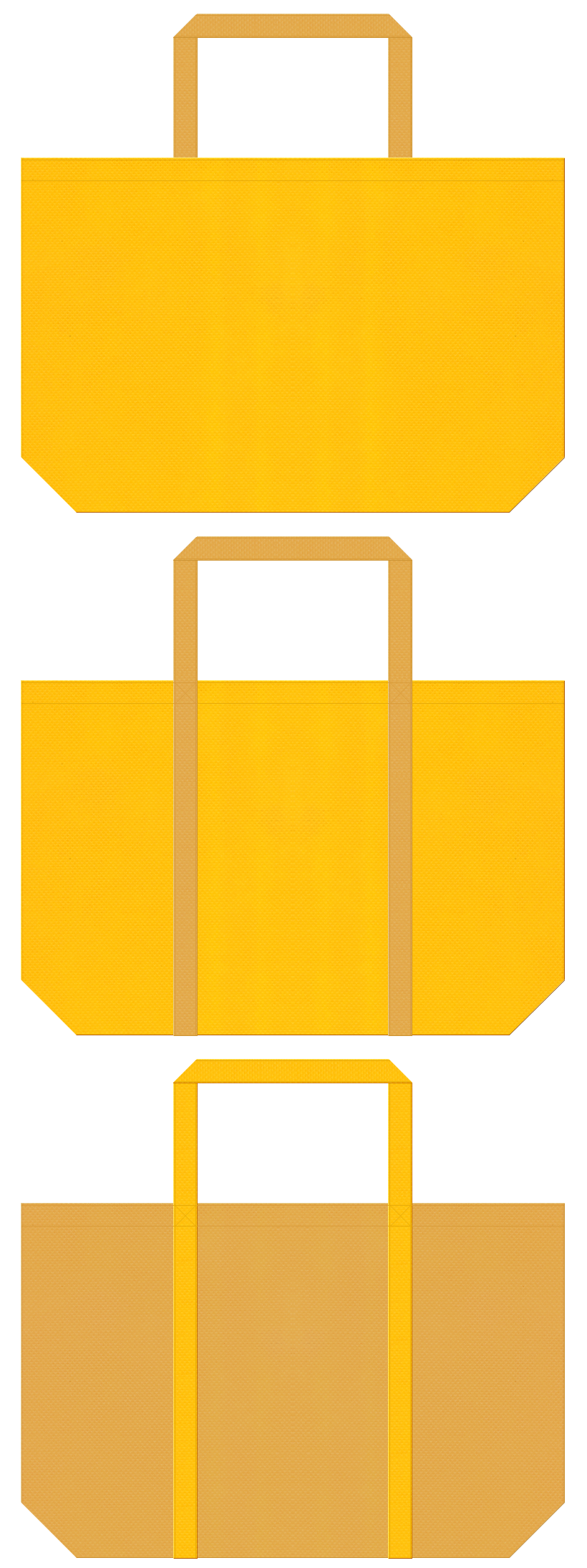 フライヤー・食用油・麦・ビール・スイーツ・クッキー・キャラメル・マロンケーキ・バター・はちみつ・栗・和菓子・絵本・お宝・黄金・ピラミッド・ラクダ・砂漠・砂丘・テーマパーク・ゲーム・通園バッグ・キッズイベントにお奨めの不織布バッグデザイン:黄色と黄土色のコーデ