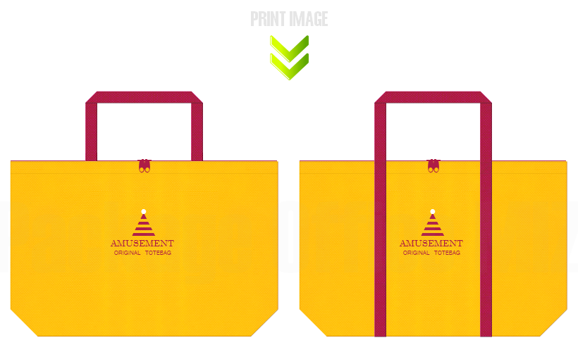 黄色と濃いピンク色の不織布バッグデザイン例:遊園地・ゲーム・おもちゃのショッピングバッグにお奨めの配色です。