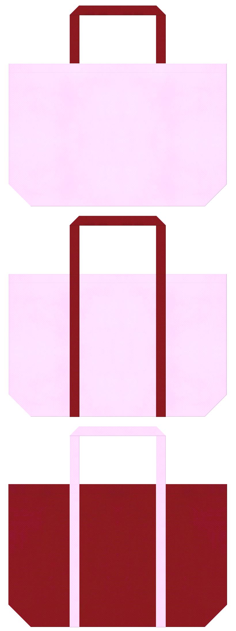 明るいピンク色とエンジ色の不織布ショッピングバッグデザイン:浴衣風の配色で、和風柄にお奨めの配色です。