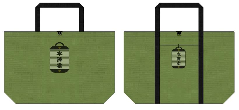 草色と黒色の不織布バッグデザイン:城下町のショッピングバッグ
