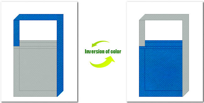 グレー色とスカイブルー色の不織布ショルダーバッグのデザイン