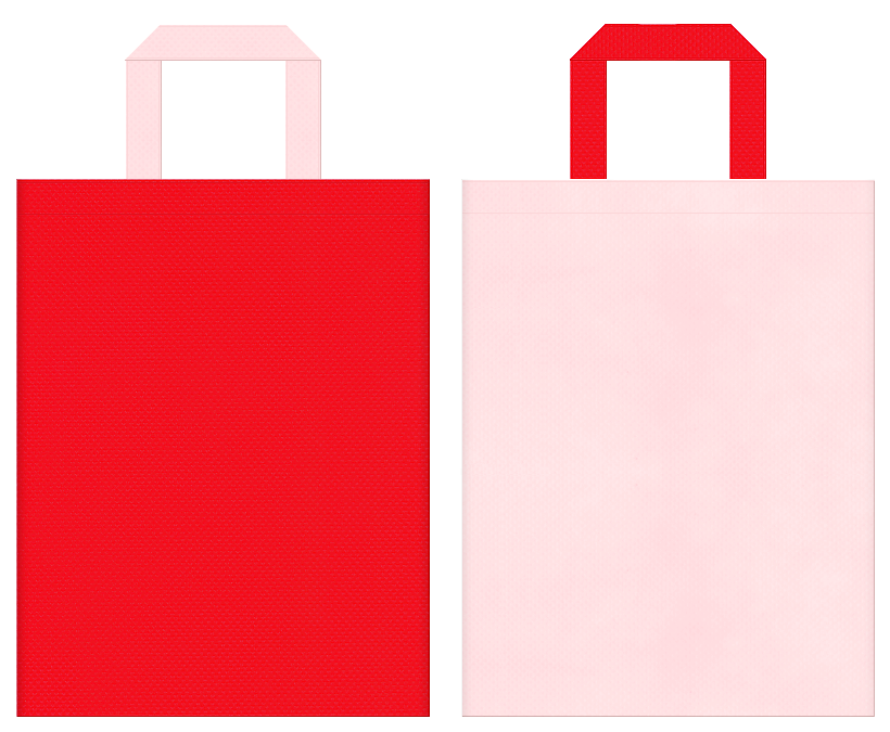 ひな祭り・いちご・カーネーション・母の日にお奨めの不織布バッグデザイン:赤色と桜色のコーディネート