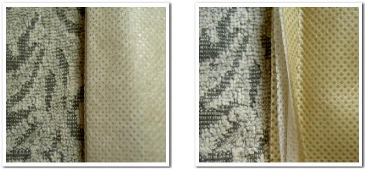 不織布生地を二枚使用した不織布の外側と内側を撮影した写真