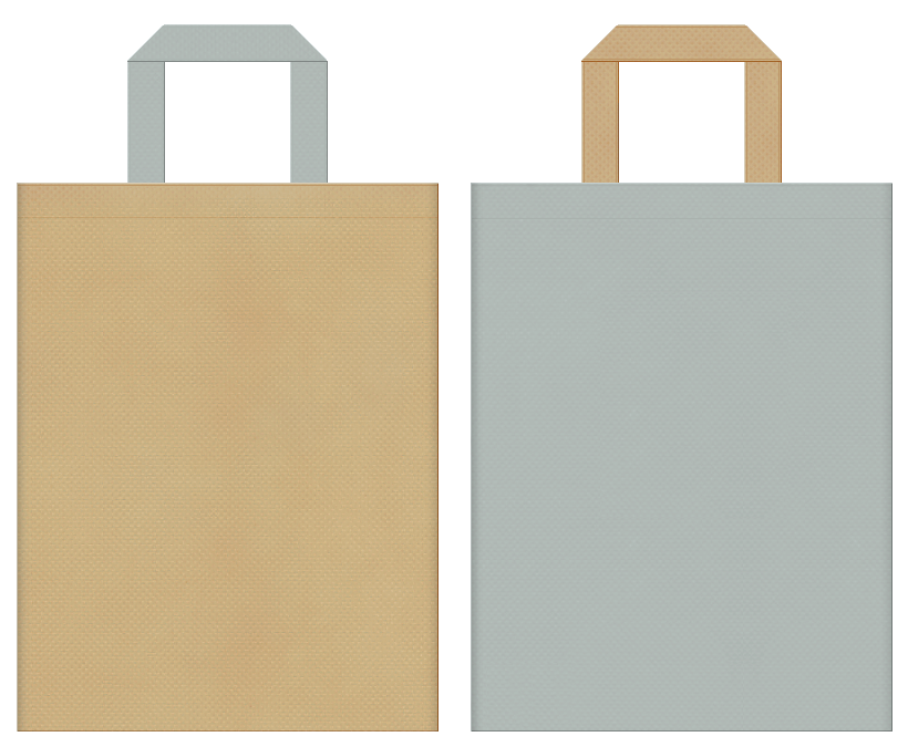 AW・アウター・セーター・Tシャツ・秋冬ファッションのショッピングバッグにお奨めの不織布バッグデザイン:カーキ色とグレー色のコーディネート