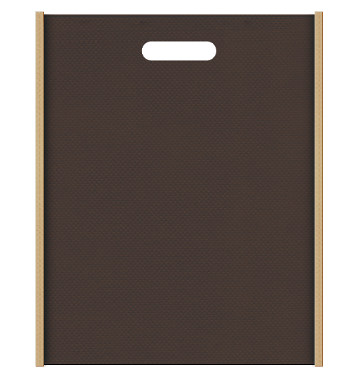 カフェ・ベーカリーにお奨めの不織布小判抜き袋の配色デザイン:メインカラーこげ茶色、サブカラーカーキ色