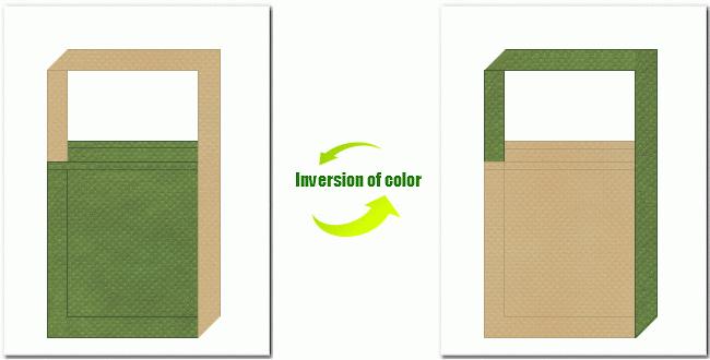 草色とカーキ色の不織布ショルダーバッグのデザイン:和風柄にお奨めです。