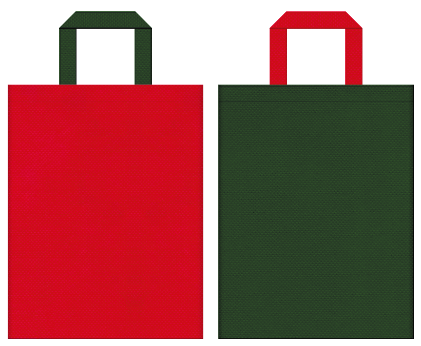バーナー・コンロ・登山・キャンプ・アウトドアイベント・トマト・イチゴ・スイカ・クリスマスツリー・クリスマスにお奨めの不織布バッグデザイン:紅色と濃緑色のコーディネート