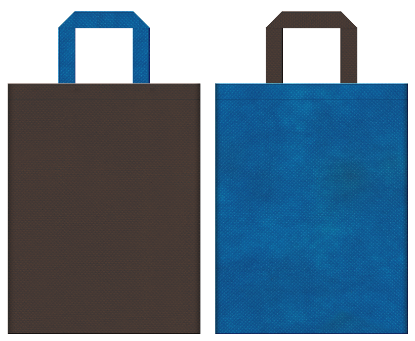 不織布バッグの印刷ロゴ背景レイヤー用デザイン:こげ茶色と青色のコーディネート:父の日ギフトのショッピングバッグにお奨めの配色です。