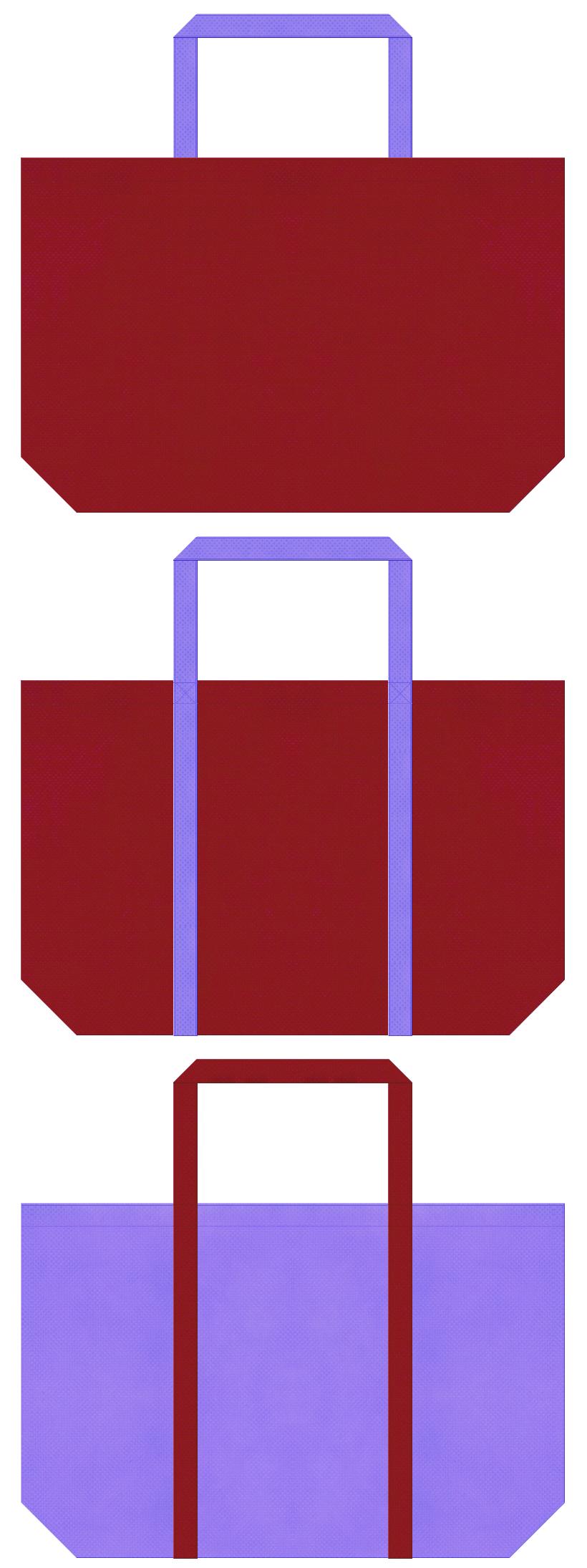エンジ色と薄紫色の不織布ショッピングバッグのデザイン。