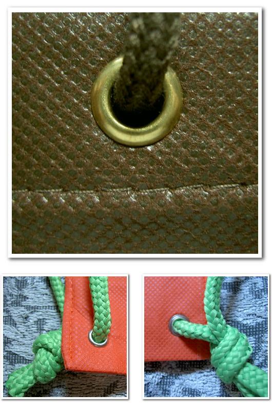 不織布バッグオリジナル制作用の付嘱パーツ:ハトメ。