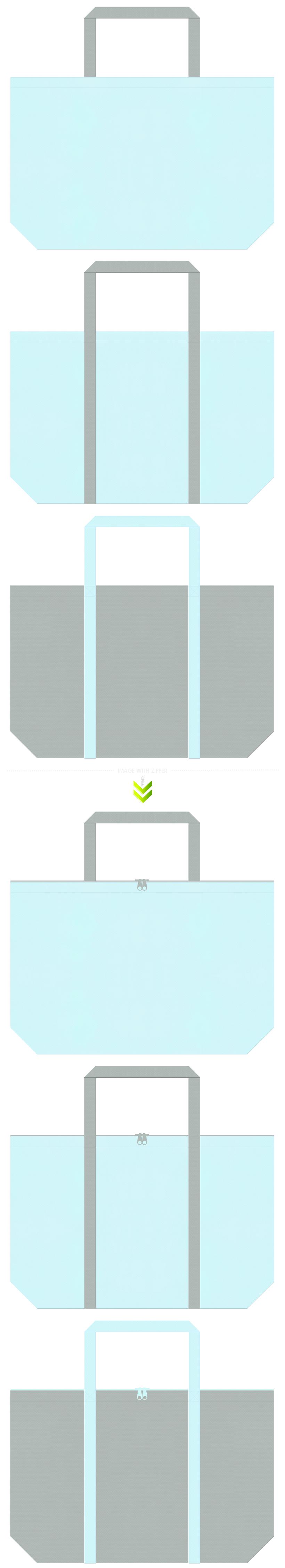 水色とグレー色の不織布エコバッグのデザイン。水道設備・ビニールハウス・スプリンクラーのイメージにお奨めの配色です。