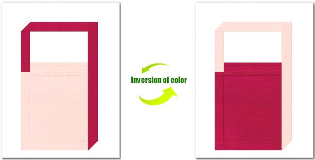 桜色と濃ピンク色の不織布ショルダーバッグのデザイン