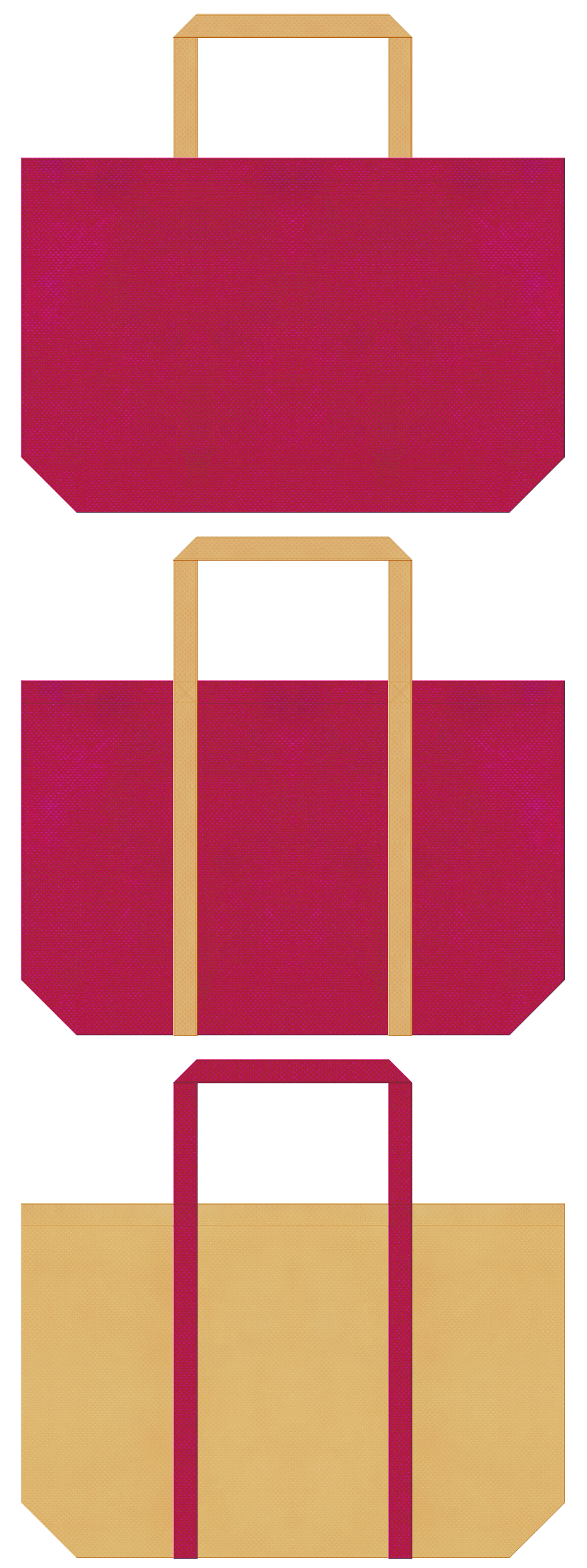 さつまいも・南国・トロピカル・カクテル・リゾート・トラベルバッグ・ゲーム・絵本・おとぎ話・お菓子の家・プリンセス・テーマパーク・ガーリーデザインのショッピングバッグにお奨めの不織布バッグデザイン:濃いピンク色と薄黄土色のコーデ