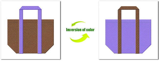 不織布No.7コーヒーブラウンと不織布No.32ミディアムパープルの組み合わせのショッピングバッグ