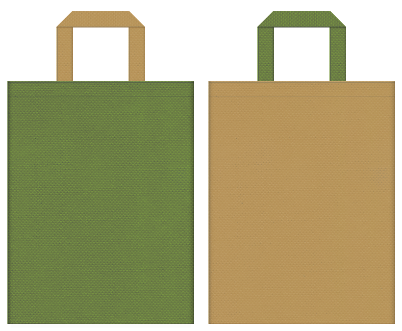不織布バッグの印刷ロゴ背景レイヤー用デザイン:草色と金黄土色のコーディネート:江戸・時代劇のイメージで、お城イベントや城下町のイベントにお奨めです。