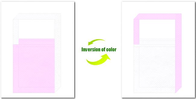 明ピンク色と白色の不織布ショルダーバッグのデザイン