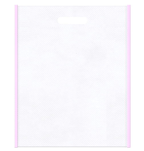 医療セミナー資料配布用のバッグにお奨めの不織布小判抜き袋:メインカラー白色、サブカラー明るめのピンク色