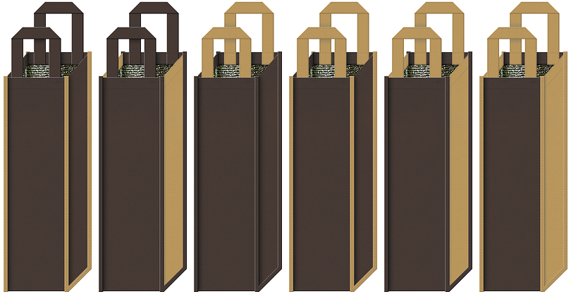 樽イメージのリカーバッグのカラーシミュレーション.3:ブランデー・ウィスキーの保冷バッグにお奨め(こげ茶色と金黄土色)