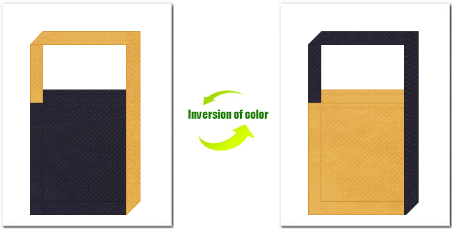 濃紺色と黄土色の不織布ショルダーバッグのデザイン:インディゴデニム・カジュアルなイメージにお奨めの配色です。