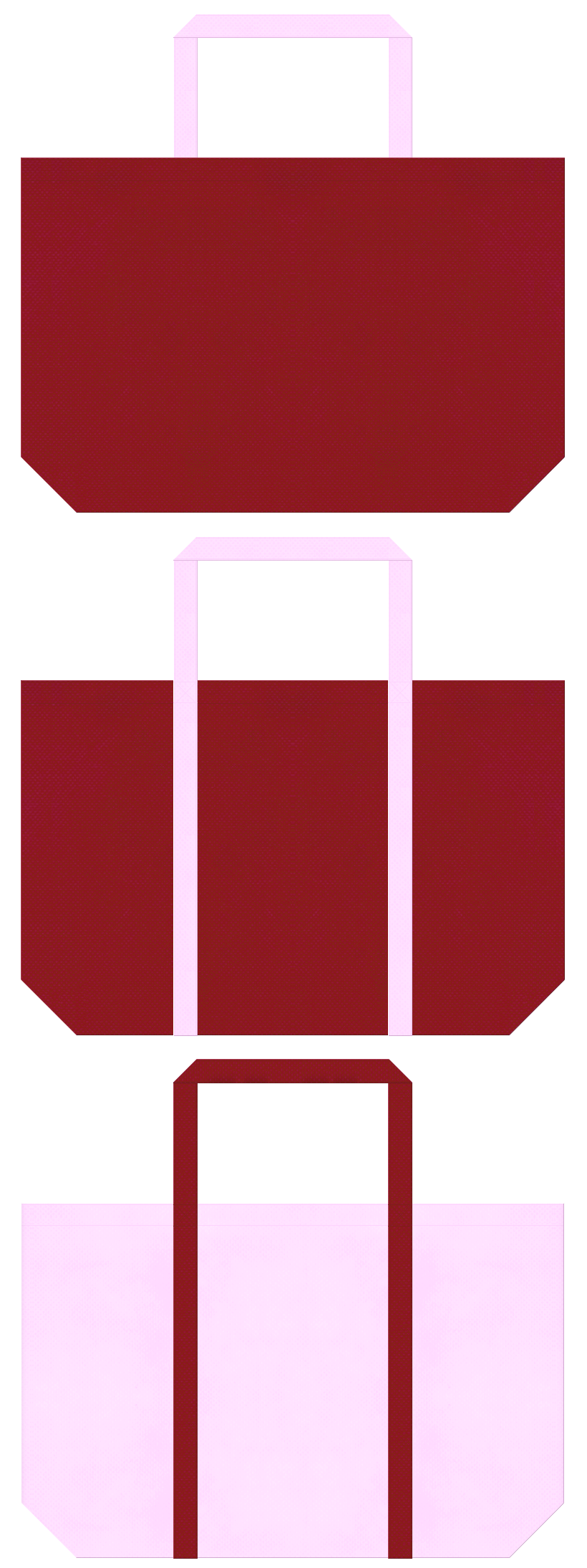エンジ色と明るいピンク色の不織布ショッピングバッグのデザイン。和雑貨のショッピングバッグ・福袋にお奨めの配色です。