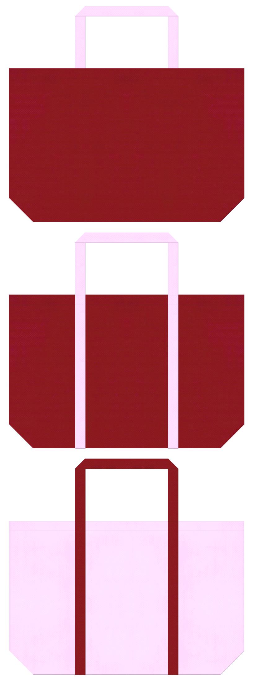 着物・振袖・お花見・成人式・ひな祭り・学校・写真館・和雑貨・和風催事・慶事・お正月・ガーリーデザインの福袋にお奨め:エンジ色と明るいピンク色の不織布ショッピングバッグのデザイン