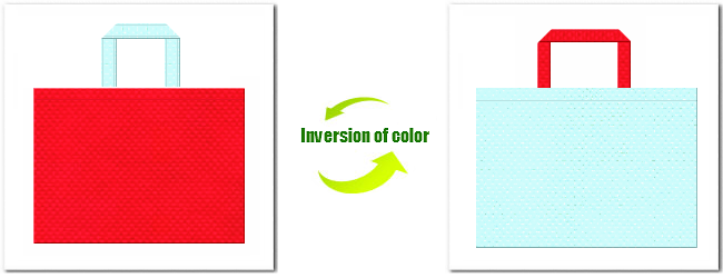 不織布No.6カーマインレッドと不織布No.30水色の組み合わせ