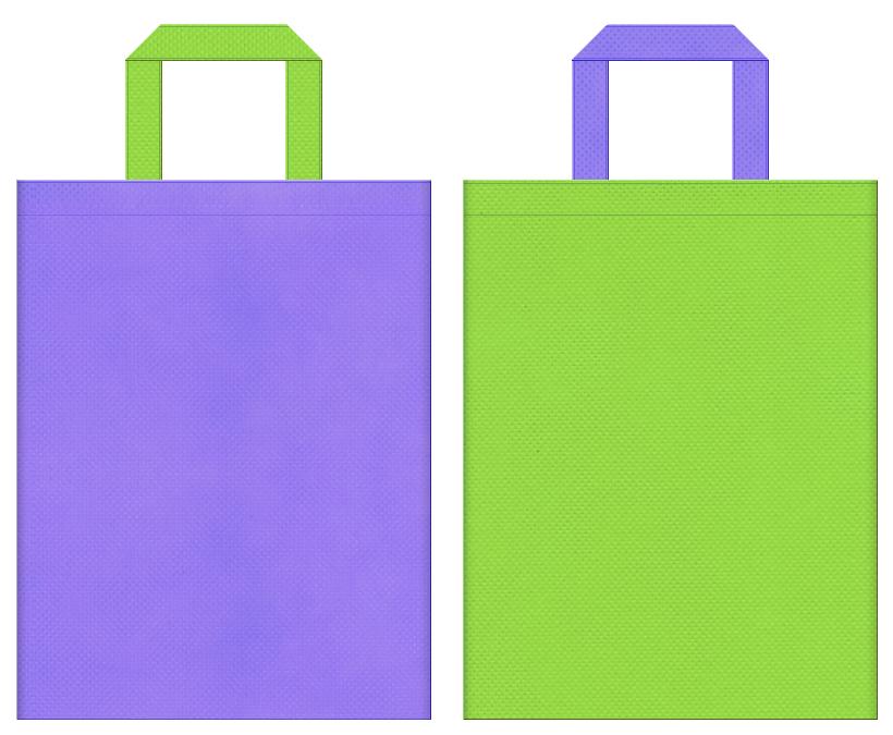 カキツバタ・藤・アサガオ・あじさい・介護用品・介護施設にお奨めの不織布バッグデザイン:薄紫色と黄緑色のコーディネート