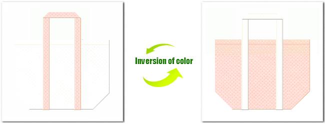 不織布No.12オフホワイトと不織布No.26ライトピンクの組み合わせのショッピングバッグ