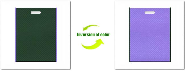 不織布小判抜平袋:No.27ダークグリーンとNo.32ミディアムパープルの組み合わせ