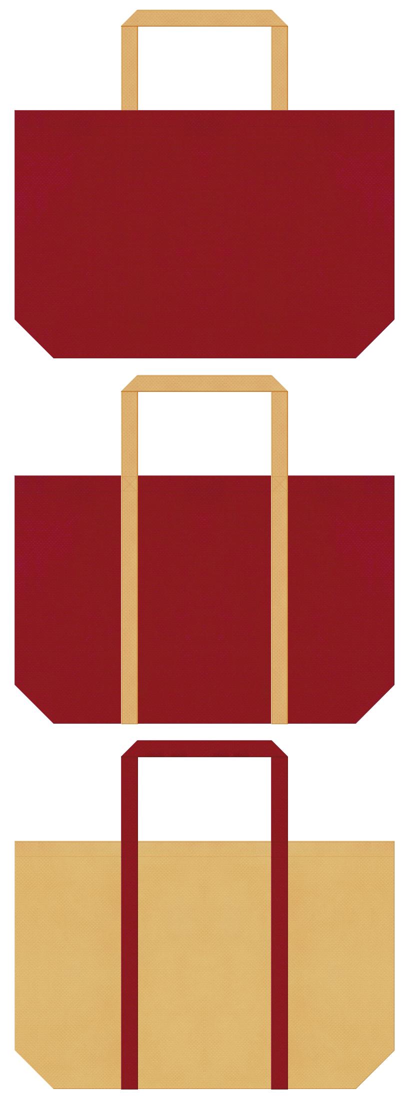 能・浄瑠璃・寄席・伝統芸能・邦楽・舞台・演芸場・和風催事・観光土産・カジュアル・アウトレットにお奨め:エンジ色と薄黄土色の不織布ショッピングバッグのデザイン