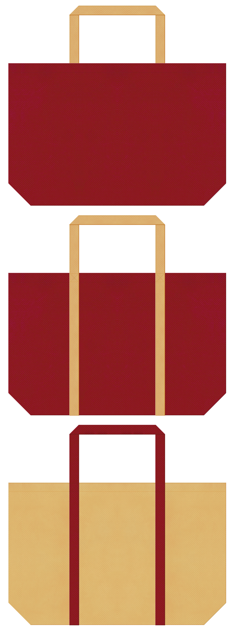 納豆・邦楽・能・浄瑠璃・伝統芸能・寄席・演芸場・満員御礼・和風催事・大豆・節分用品のショッピングバッグ:エンジ色と薄黄土色の不織布ショッピングバッグのデザイン