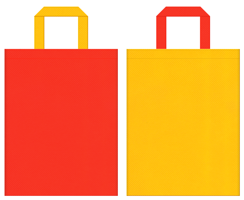 キッズイベント・テーマパーク・おもちゃ・柑橘類・ビタミン・調味料・バター・サラダ油・エネルギー・サプリメント・キッチン・フライヤー・料理教室・料理セミナー・勉強会にお奨めの不織布バッグデザイン:オレンジ色と黄色のコーディネート