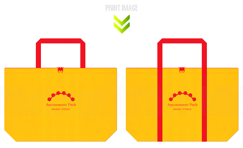 不織布バッグのデザイン:遊園地のノベルティ