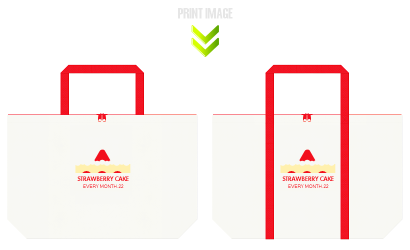 オフホワイト色と赤色の不織布ショッピングバッグのデザイン例:ショートケーキの日