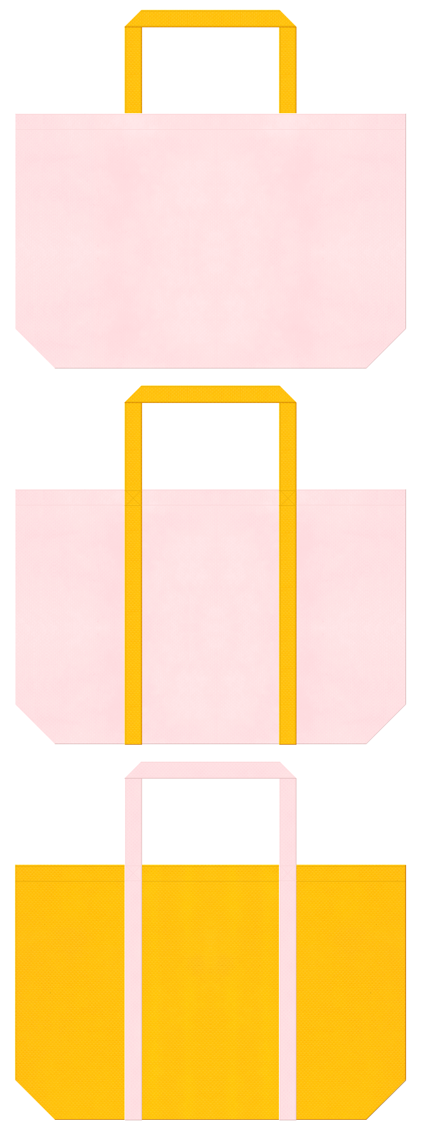 桜色と黄色の不織布ショッピングバッグデザイン。