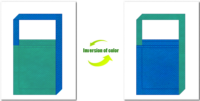 青緑色とスカイブルー色の不織布ショルダーバッグのデザイン