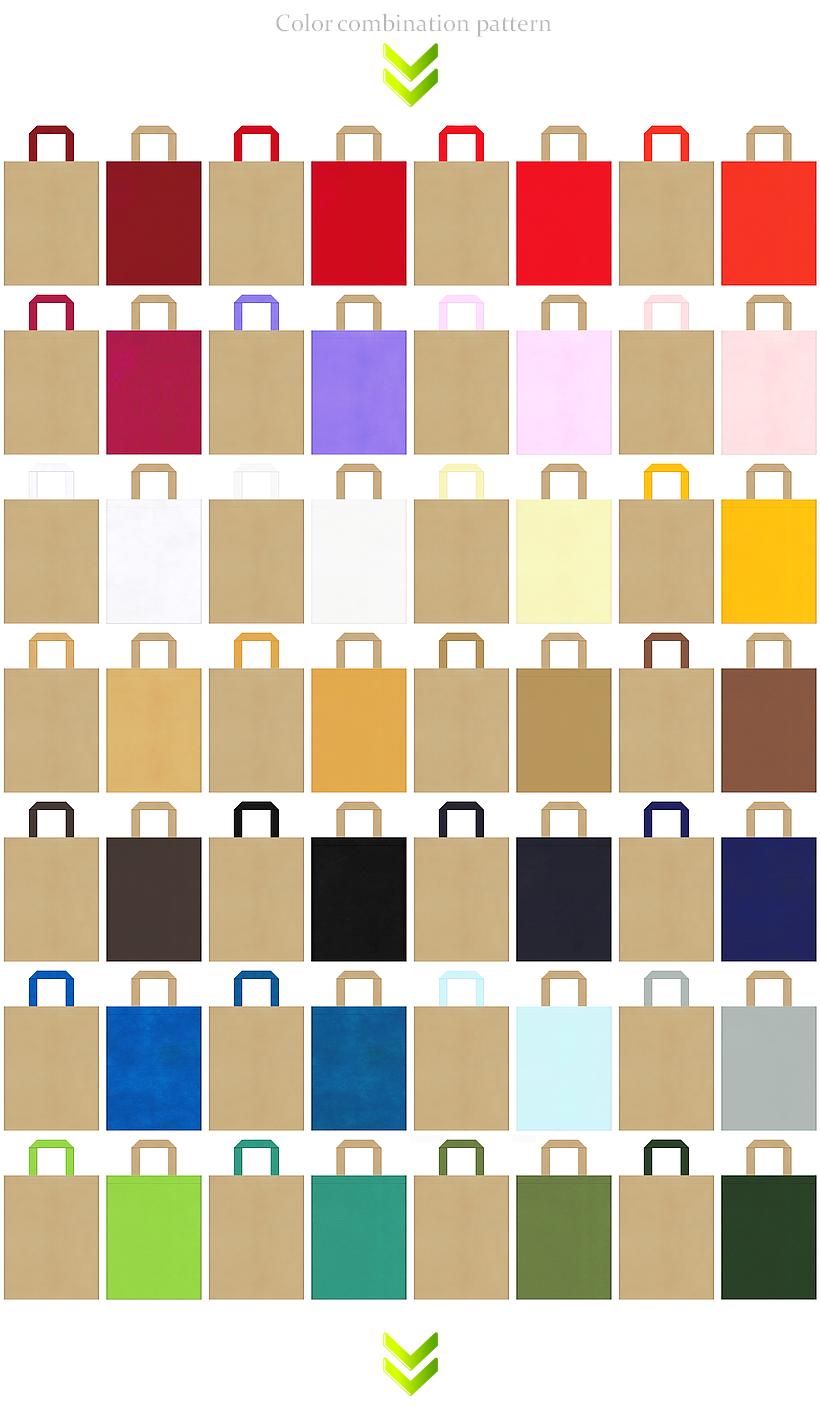 和風催事・イベントのノベルティにお奨めの不織布バッグデザイン:カーキ色のコーデ56例