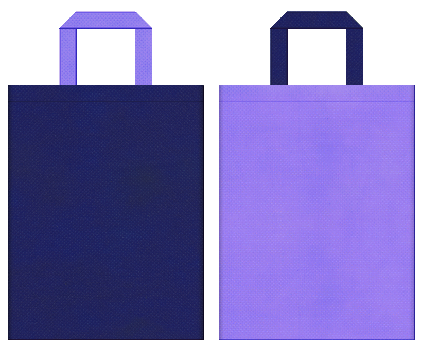 神話・伝説・ゲームのイベント・天体観測・星座・プラネタリウム・星占い・星空のイベントにお奨めの不織布バッグデザイン:明るい紺色と薄紫色のコーディネート