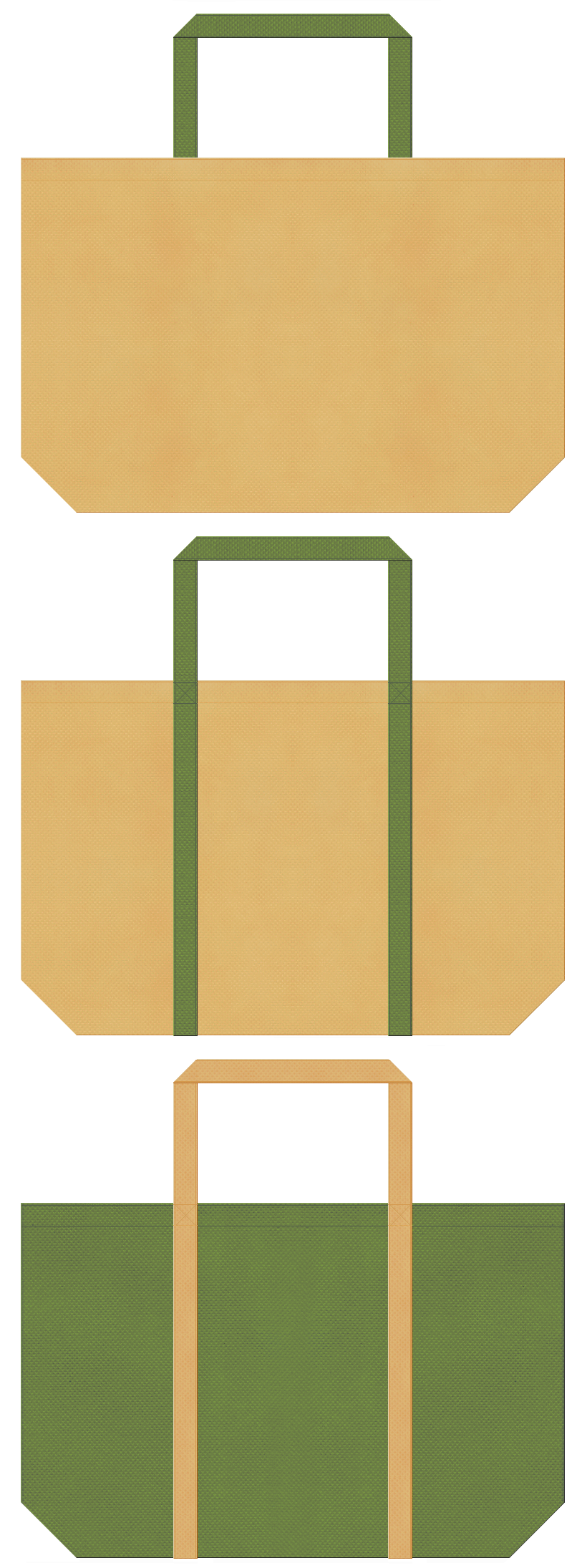 薄黄土色と草色の不織布バッグデザイン。檜風呂・茶室・畳・竹細工のイメージにお奨めの配色です。